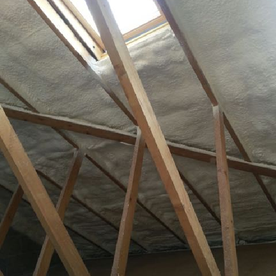 After installing roof insulation foam
